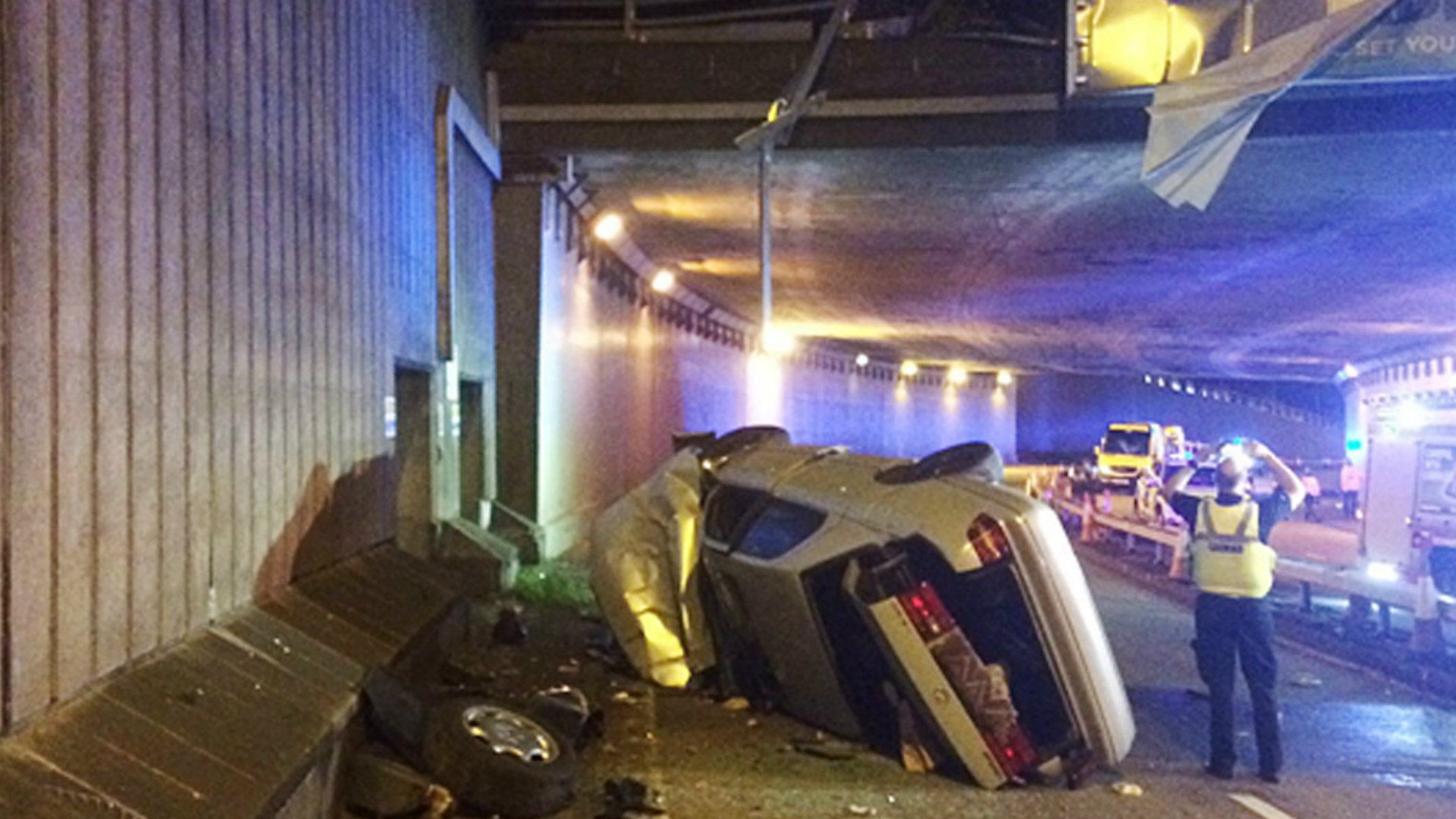 Man and children survive after vehicle plummets off flyover